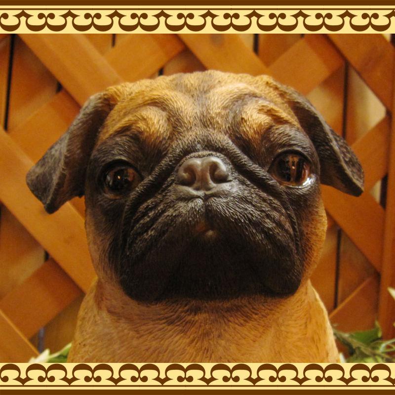 ◇お部屋のインテリアにお庭のオーナメントとしても♪ 大きくてリアルな犬の置物 パグ ラージ Aタイプ