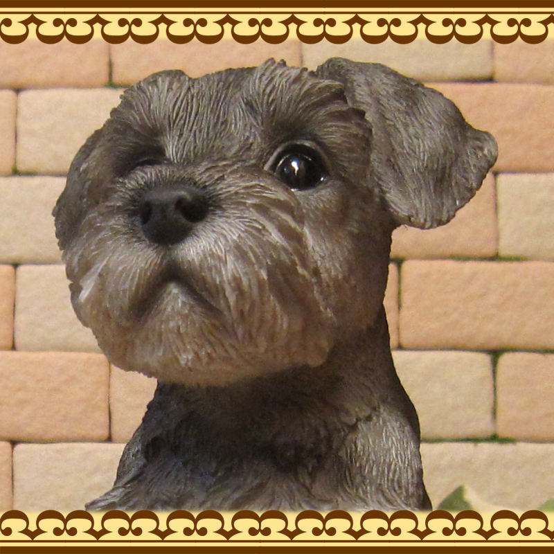◇お部屋のインテリアにお庭のオーナメントとしても♪ リアルな犬の置物 シュナウザー 子いぬ    お座り
