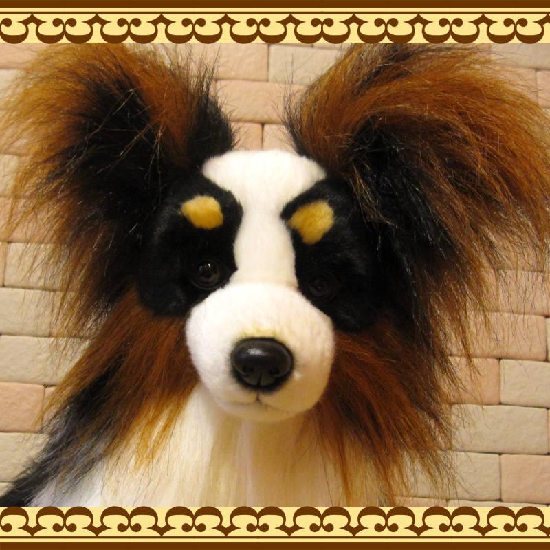 大きくてリアルな犬のぬいぐるみ パピヨン ドッグオブジェ いぬの置物 イヌのフィギュア インテリア
