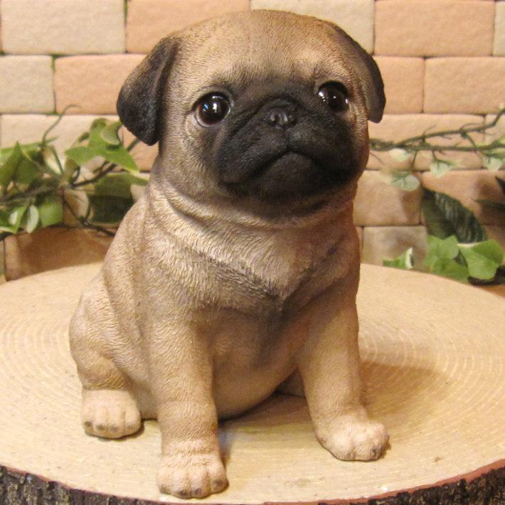 ◇お部屋のインテリアにお庭のオーナメントとしても♪ リアルな犬の置物 パグ 子犬 お座り