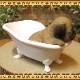 リアルな犬の置物 バスタブ ドッグ パグ イヌのフィギュア いぬのオブジェ ◇お部屋のインテリアにお庭のオーナメントとしても♪