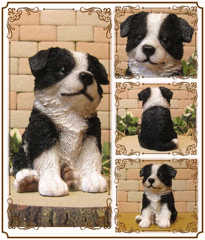◇お部屋のインテリアにお庭のオーナメントとしても♪ リアルな犬の置物 ボーダーコリー 子犬