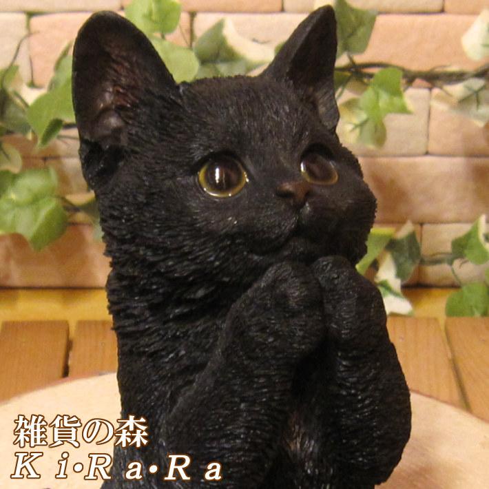 リアルなネコの置物 お願いキャット 1 ブラック くろねこのフィギュア 黒猫オブジェ◇お部屋のインテリアにお庭のオーナメントとしても♪