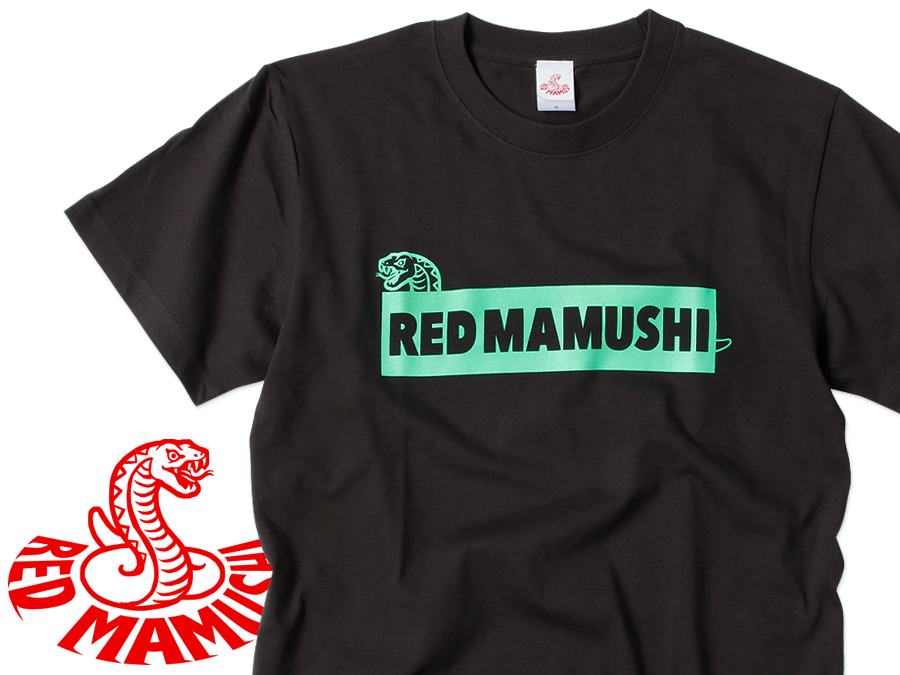 RED MAMUSHI Tシャツ / ブラック×蛍光グリーンロゴ