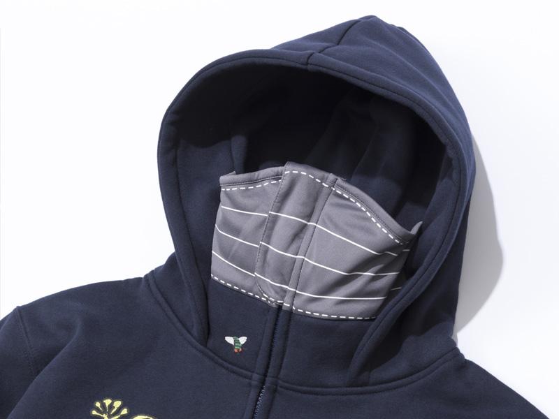【予約】世田谷ベース 絵夢英王マスクパーカー(刺繍風プリント)