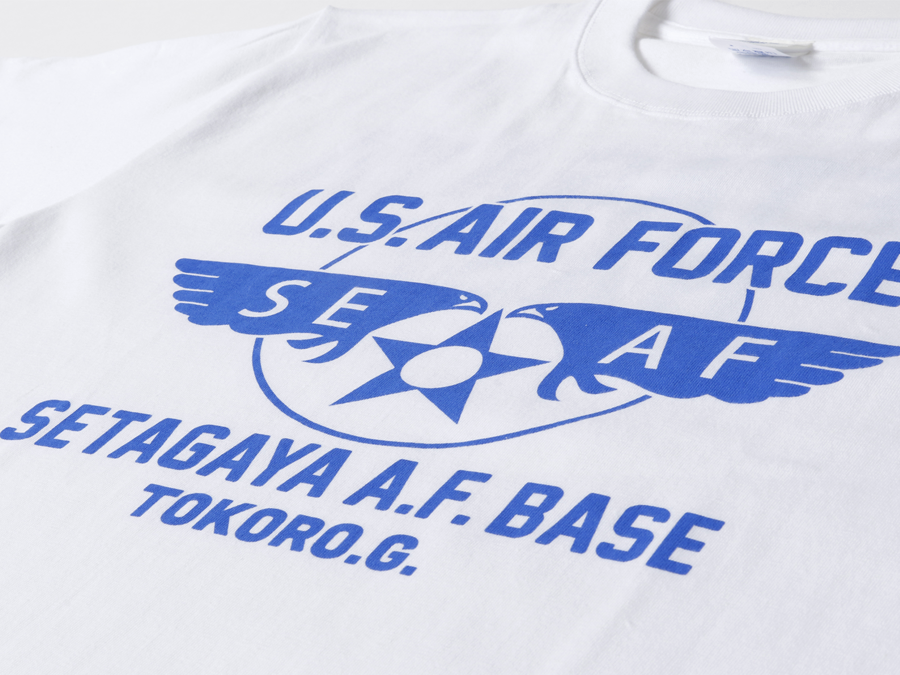 所さんの世田谷ベース ニューエアフォースTシャツ / ホワイトボディ