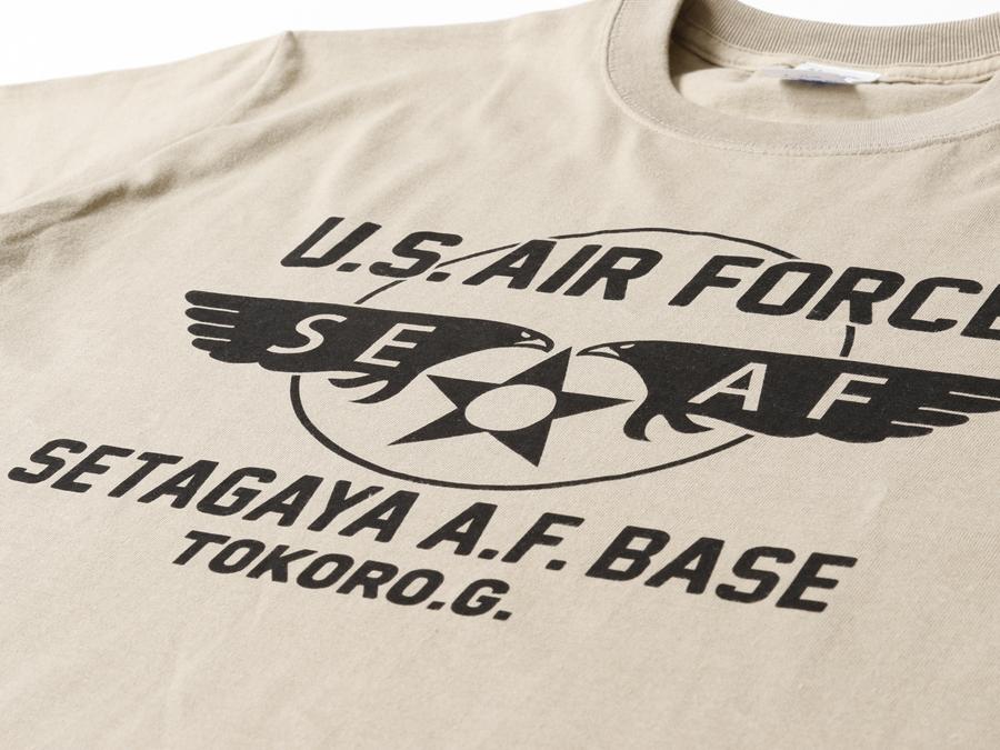 所さんの世田谷ベース ニューエアフォースTシャツ / カーキボディ