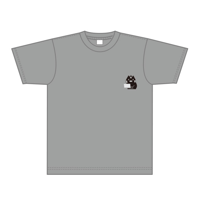 オリジナルTシャツ パソコンでテレワーク作業をする猫【残業するディレクター編】【猫の手】