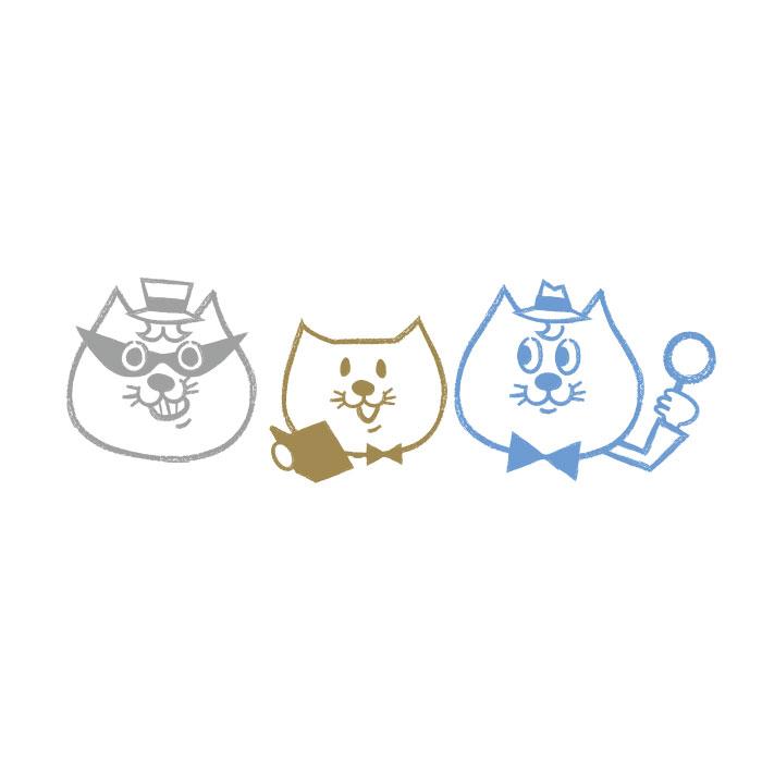 ポーチ オリジナルキャラクター【名探偵コラット,助手シャムくん,怪盗ハチワレ】【猫の手】