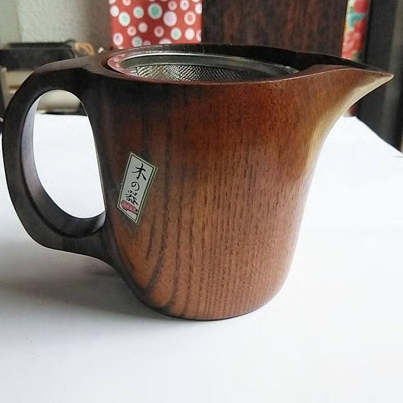 寄木彩色木製ポット(蓋、茶こし付き)