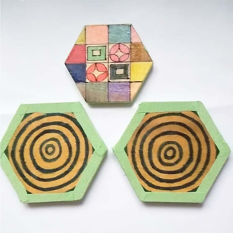麻の葉柄急須セット(木製台+木製コースター2枚)