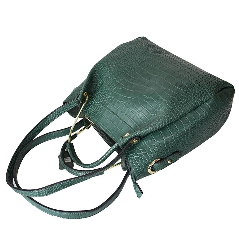 ENKI レディース トートバッグ ショルダーバッグ 手提げ 2way 肩がけ 高品質 PU レザー ハンドバッグ green