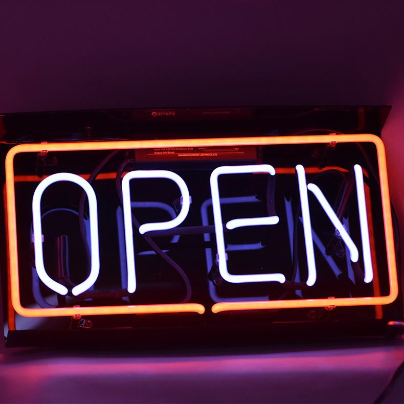 ネオン サイン、『OPEN』NEON SIGNネオン管、ディスプレイ ボード、カフェ、喫茶店、広告用看板、クラブ及び娯楽場所等 インテリア、アメリカン雑貨14*9インチ 赤い白い