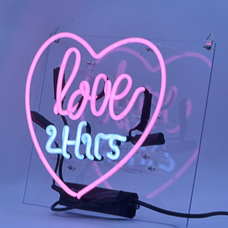 ネオン サイン、『love24』NEON SIGNネオン管、ディスプレイ ボード、カフェ、喫茶店、広告用看板、クラブ及び娯楽場所等 インテリア、アメリカン雑貨15*10インチ ピンク 青