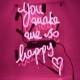 ネオン サイン 『You make me to happy』NEON SIGNネオン管、ディスプレイ ボード、カフェ、喫茶店、広告用看板、クラブ及び娯楽場所等 インテリア アメリカン雑貨 33*20.3cm
