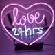 ネオン サイン、『love24hrs』NEON SIGNネオン管、ディスプレイ ボード、カフェ、喫茶店、広告用看板、クラブ及び娯楽場所等 インテリア アメリカン雑貨 38.1*25.4cm