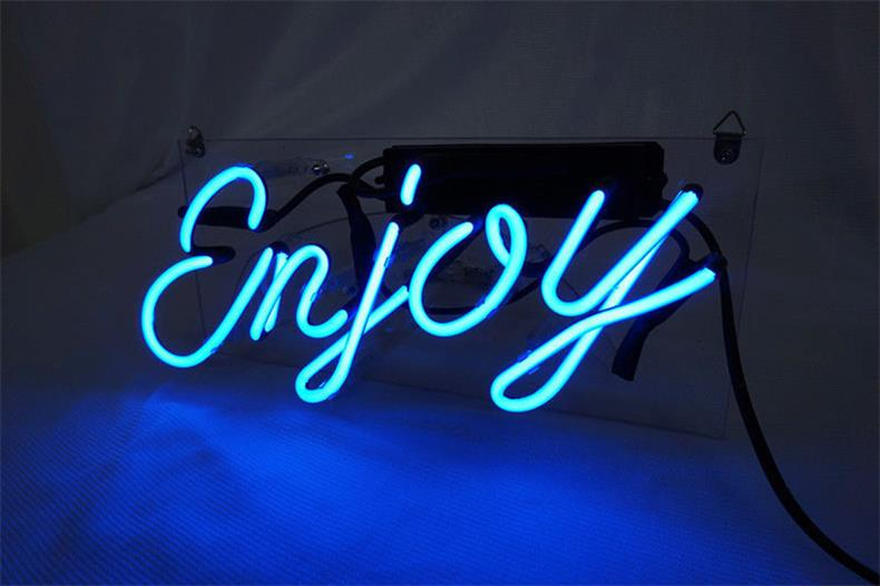 ネオン 管 サイン 『enjoy』NEON SIGN 広告 用 看板 ディスプレイ ボード カフェ喫茶店 クラブ及び娯楽場所等 インテリア アメリカン 雑貨 12*6センチ(青い)