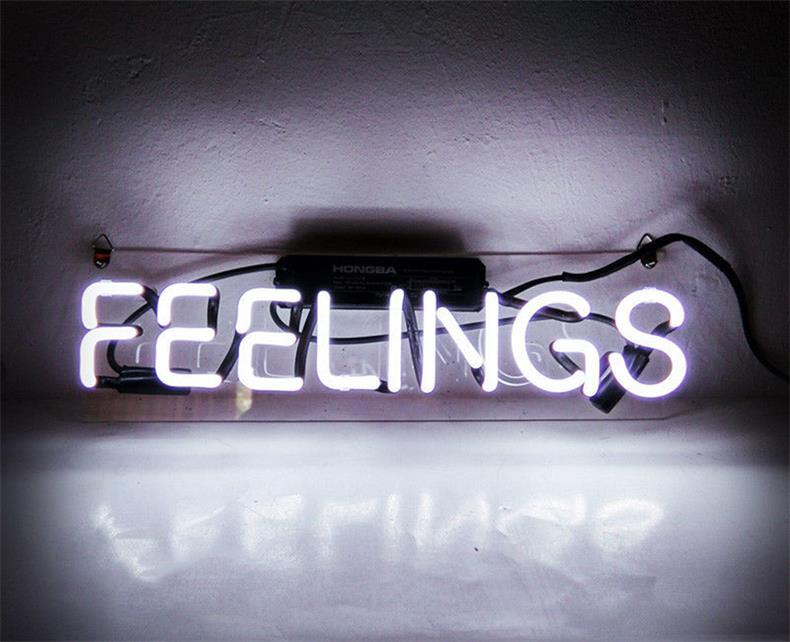 ネオン 管 サイン 『FEELINGS』 NEON SIGN 広告 用 看板 ディスプレイ ボード カフェ喫茶店 クラブ及び娯楽場所等 インテリア アメリカン 雑貨 12*6センチ(白い)