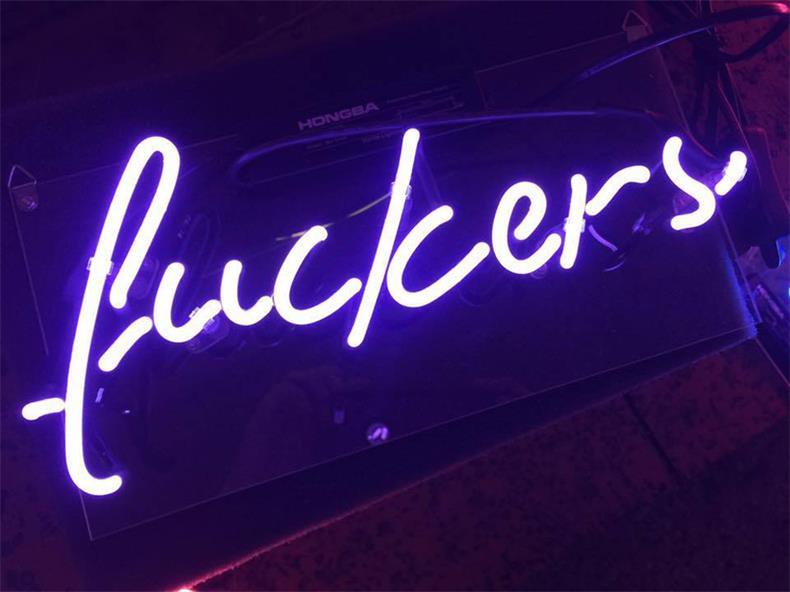 ネオン 管 サイン 『fuckers』NEON SIGN 広告 用 看板 ディスプレイ ボード カフェ喫茶店 クラブ及び娯楽場所等 インテリア アメリカン 雑貨 13*6センチ(青い)