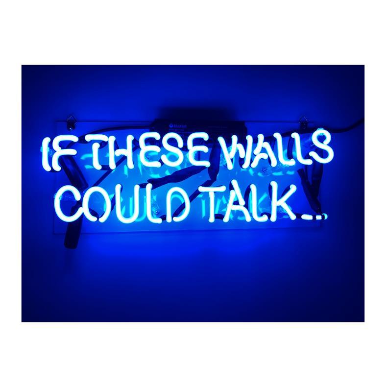 ネオン 管 サイン 『if the walls could talk』NEON SIGN 広告 用 看板 ディスプレイ ボード カフェ喫茶店 クラブ及び娯楽場所等 インテリア アメリカン 雑貨 14*5センチ(青い)
