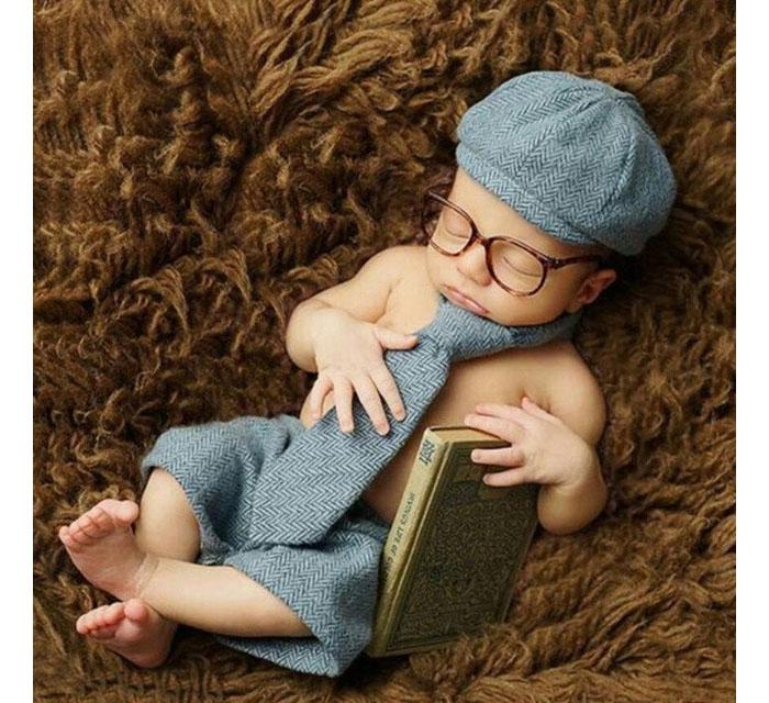 紳士セット ( 眼鏡+帽子+タイ+パンツ) 男の子 セット100日前後サイズ (グレーヘリンボーン,新生児ワンサイズ)[10_Jane_1379596_32836383901]