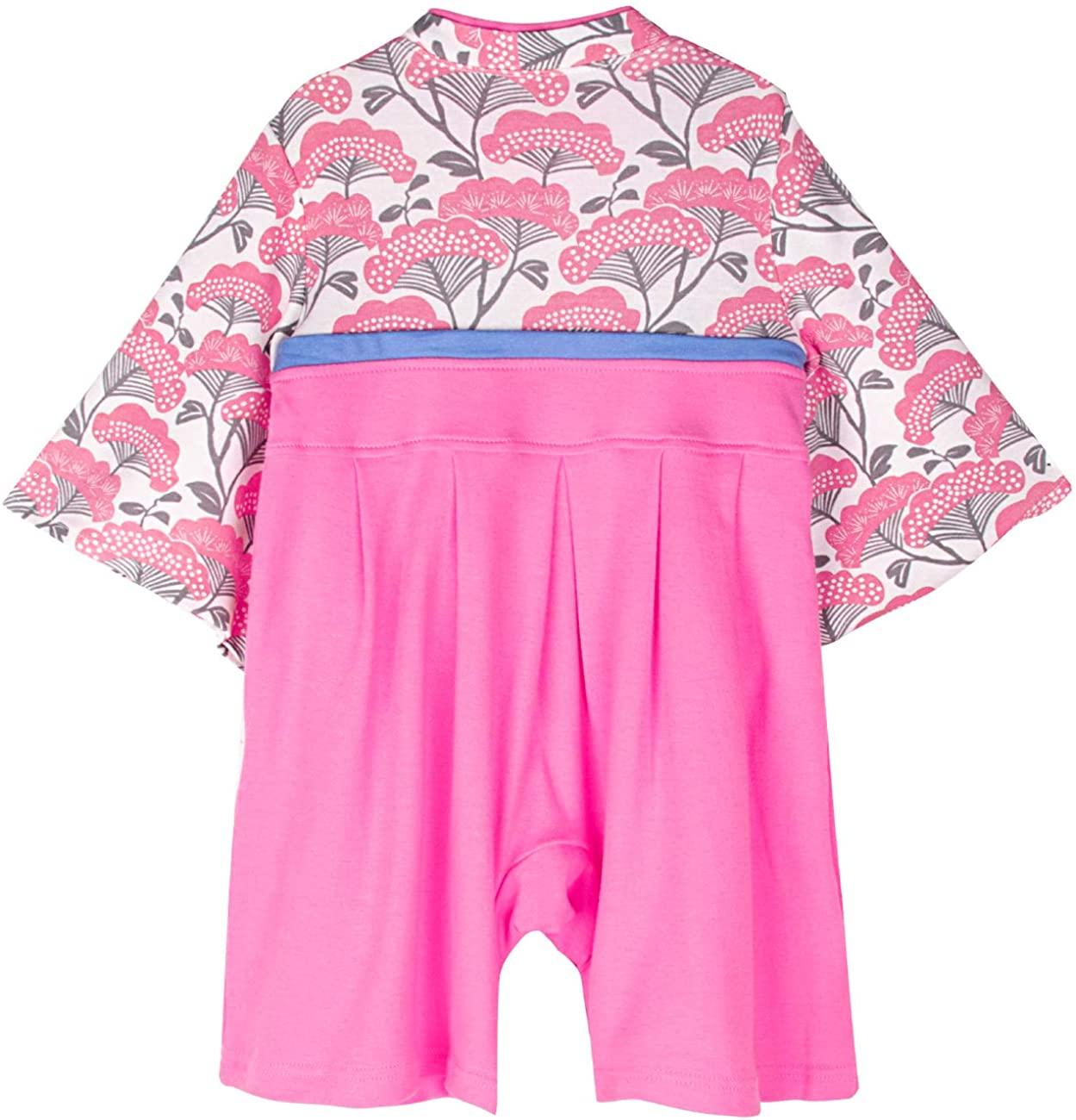 着物 女児 A <袴ロンパース&リボンヘッドバンド&フラワーヘッドバンド&足袋ソックスセット>
