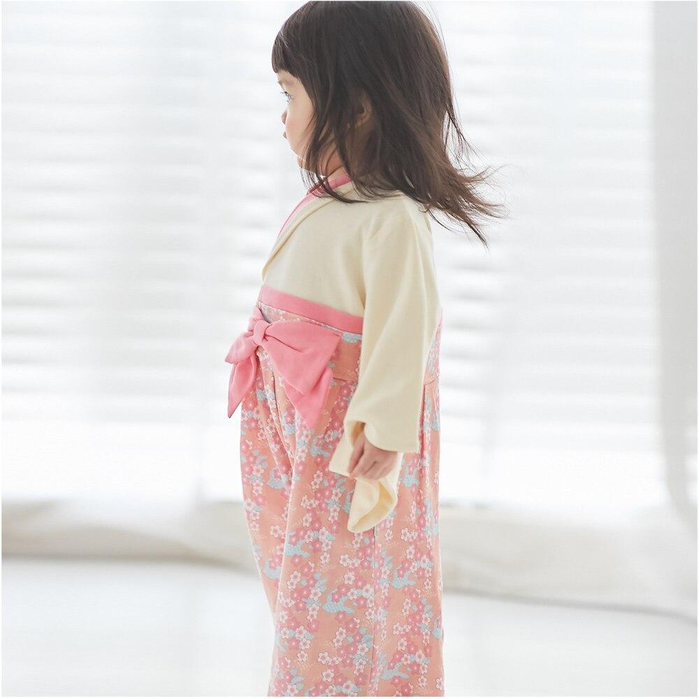 着物 女児 H <袴ロンパース&リボンヘッドバンド&フラワーヘッドバンド&足袋ソックスセット>