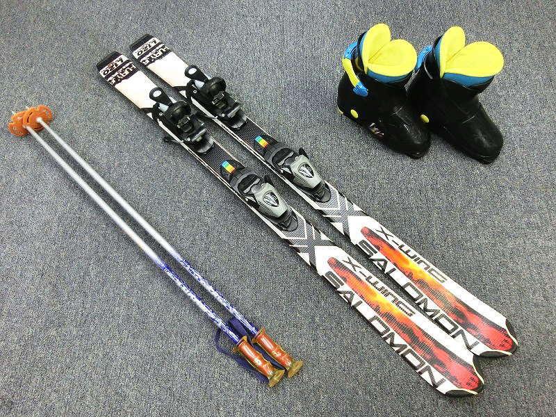 9726Y★SALOMON X-WING 120cm+ブーツ21〜24cm+ストック95cm★中古/こどもスキー3点セット