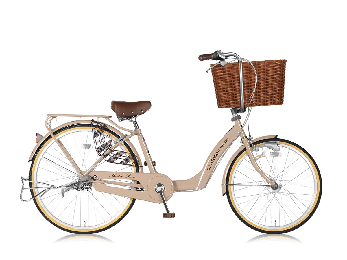 a.n.design works a.n.d mama cargo 大容量バスケット付き自転車 26インチ:ミルクティー 組立済