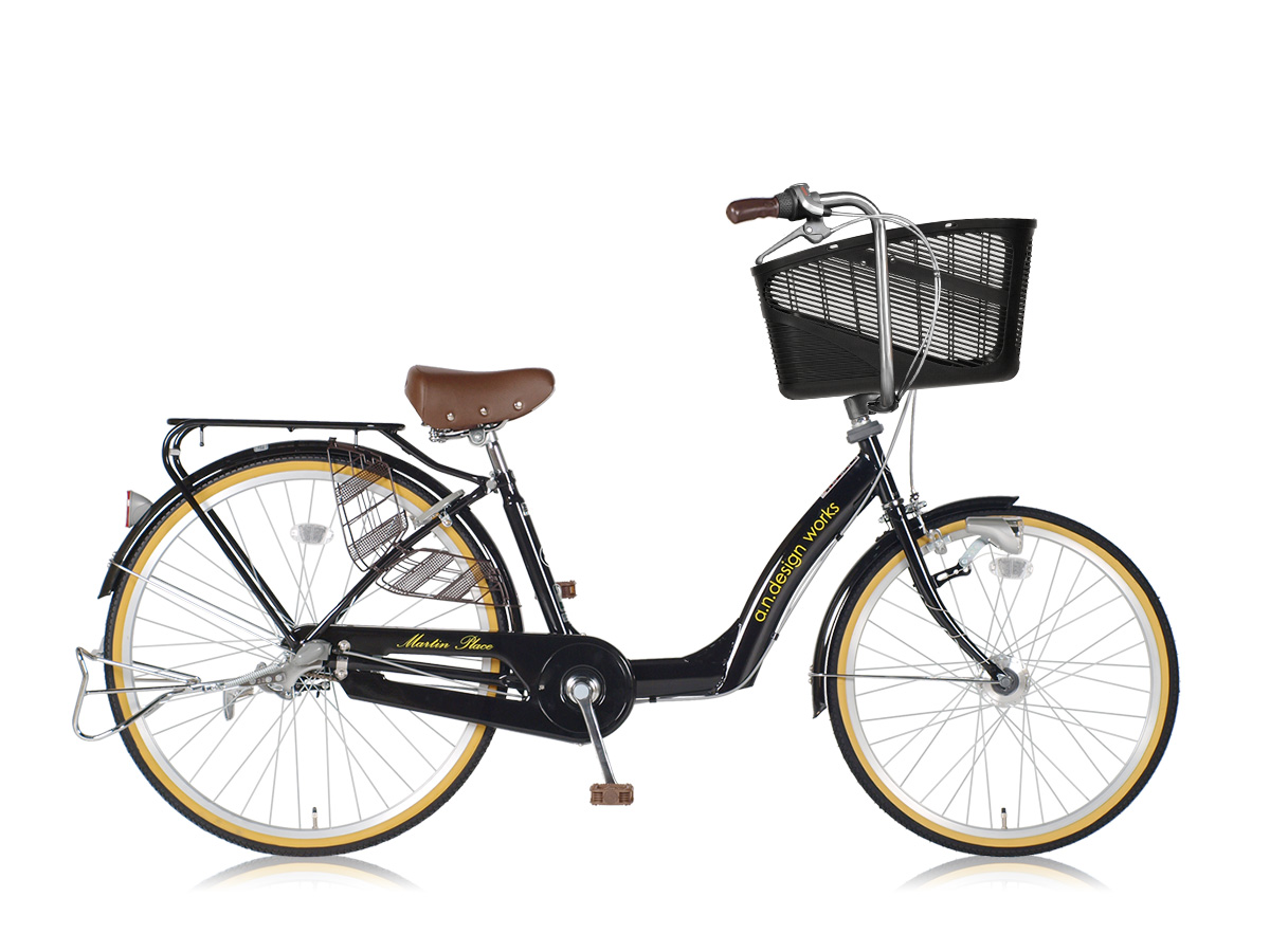 アウトレット a.n.design works a.n.d mama cargo 大容量バスケット付き自転車 26インチ:ブラック 組立済