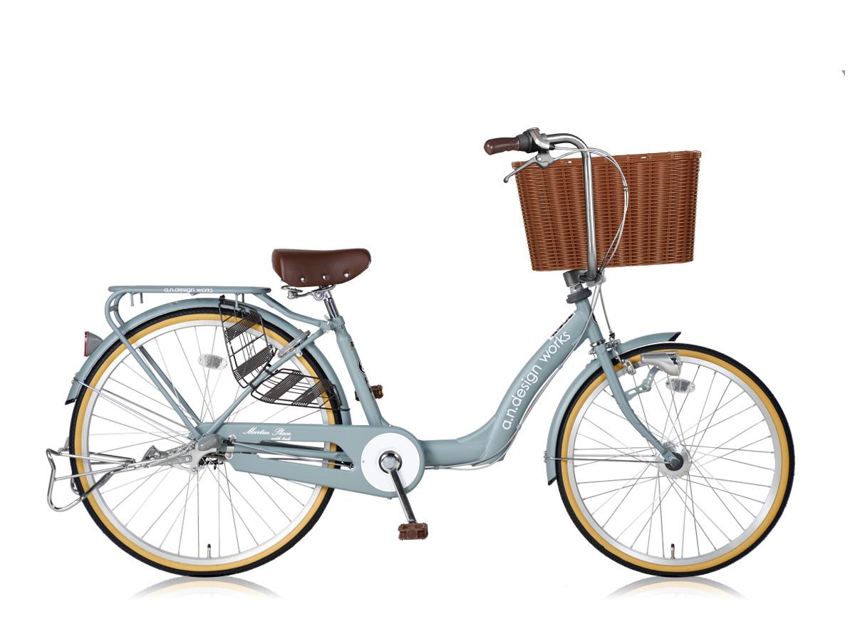 アウトレット a.n.design works a.n.d mama cargo 大容量バスケット付き自転車 26インチ:アッシュターコイズ 組立済