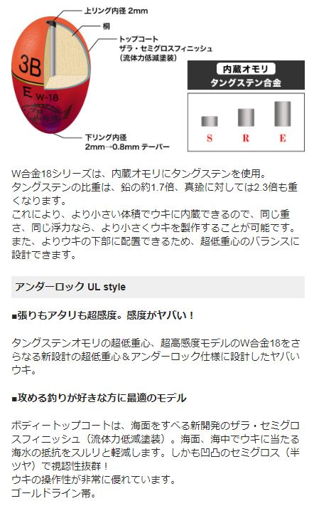 【山元工房】W合金18 Eタイプ アンダーロック レモン (レターパック可)