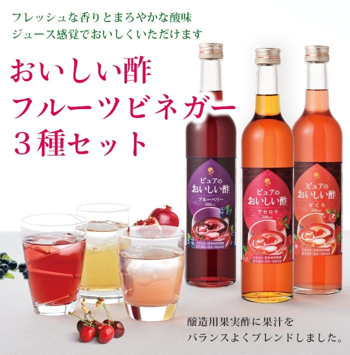 おいしい酢 《フルーツビネガー 3種》 3本セット(ザクロ1本・ブルーベリー1本・アセロラ1本)