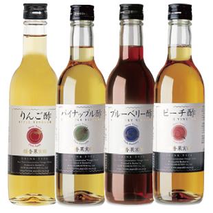 果実酢 飲む酢 4本セット 各360ml りんご酢、パイナップル酢、ブルーベリー酢 ピーチ酢