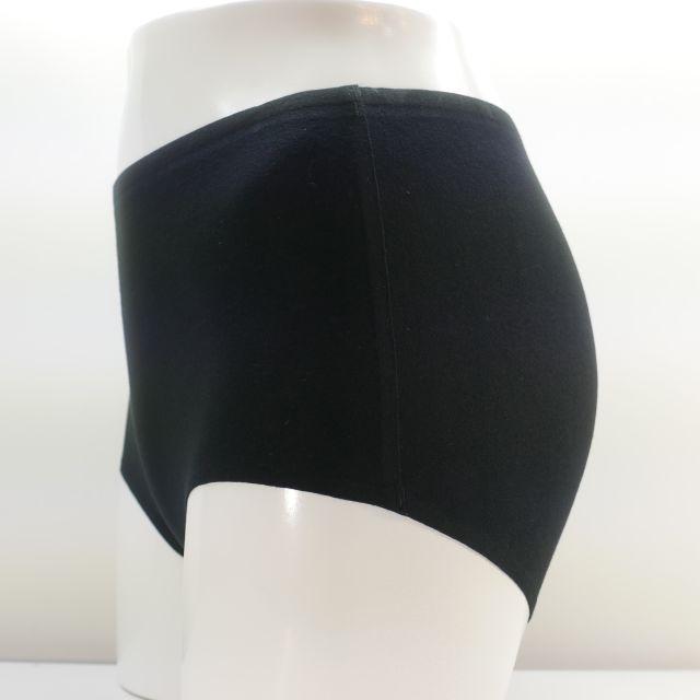 綿混無縫製ハイウエストショーツ L ブラック色
