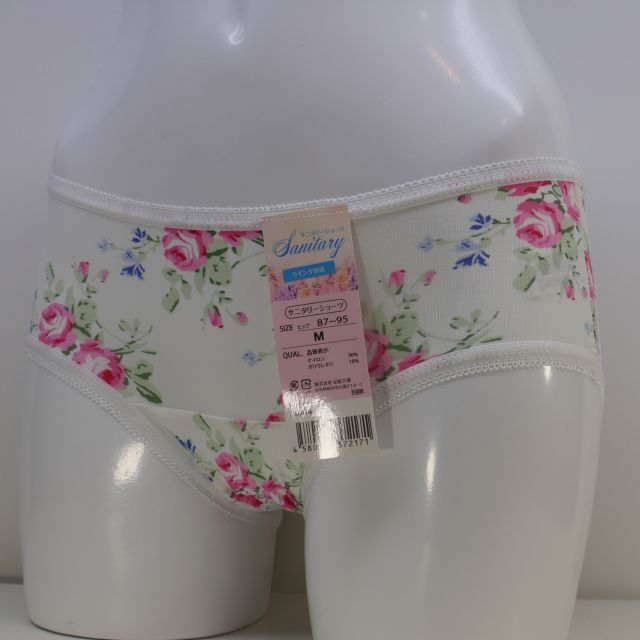 サニタリーショーツ  スタンダード   花柄白色 サイズM.L.LL