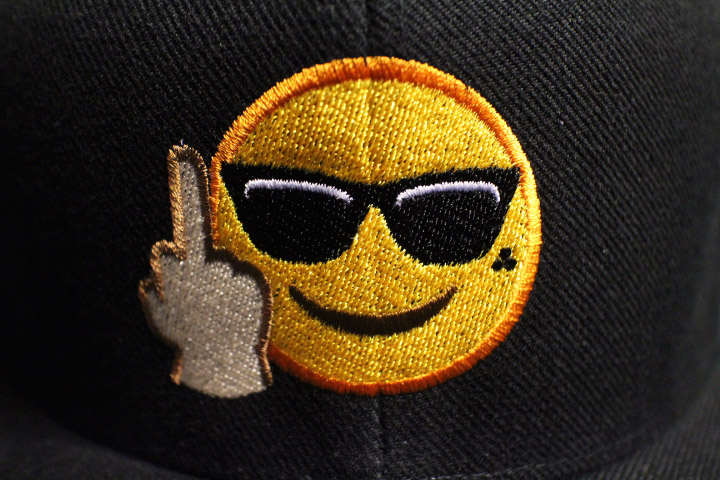 F-U emoji snapback cap / black