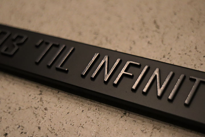 "NICETY ""SINCE NINETY THREE"" license plate frame / black & black"
