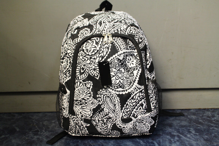 paisley backpack / black & white