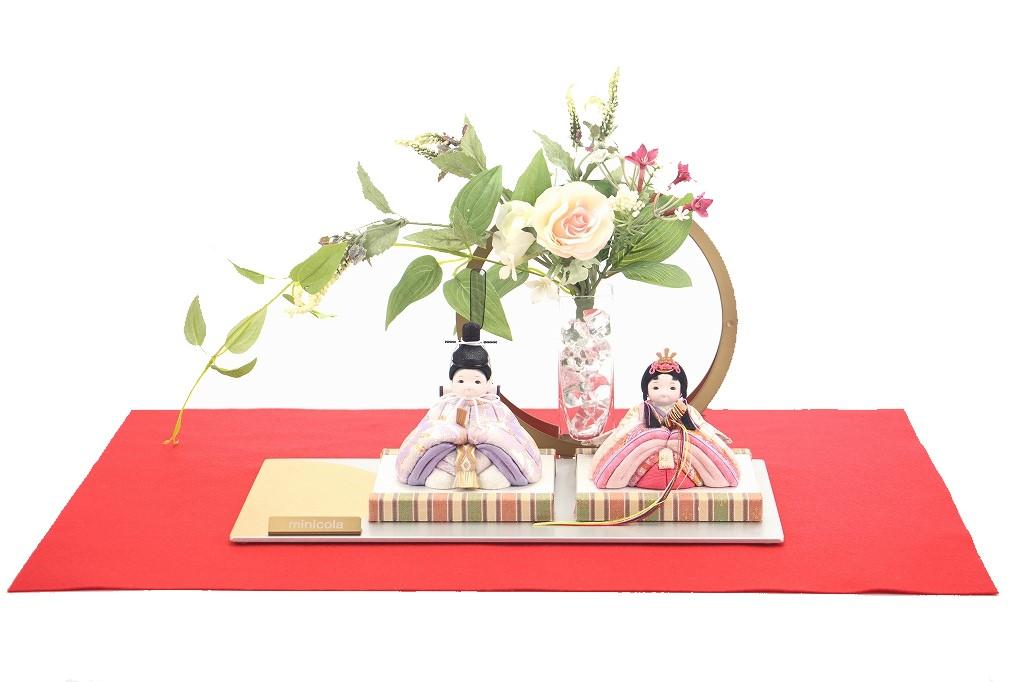 かわいい 小さな お雛様 rico梨花(りんか)木目込み親王飾り minimal flower アレンジ