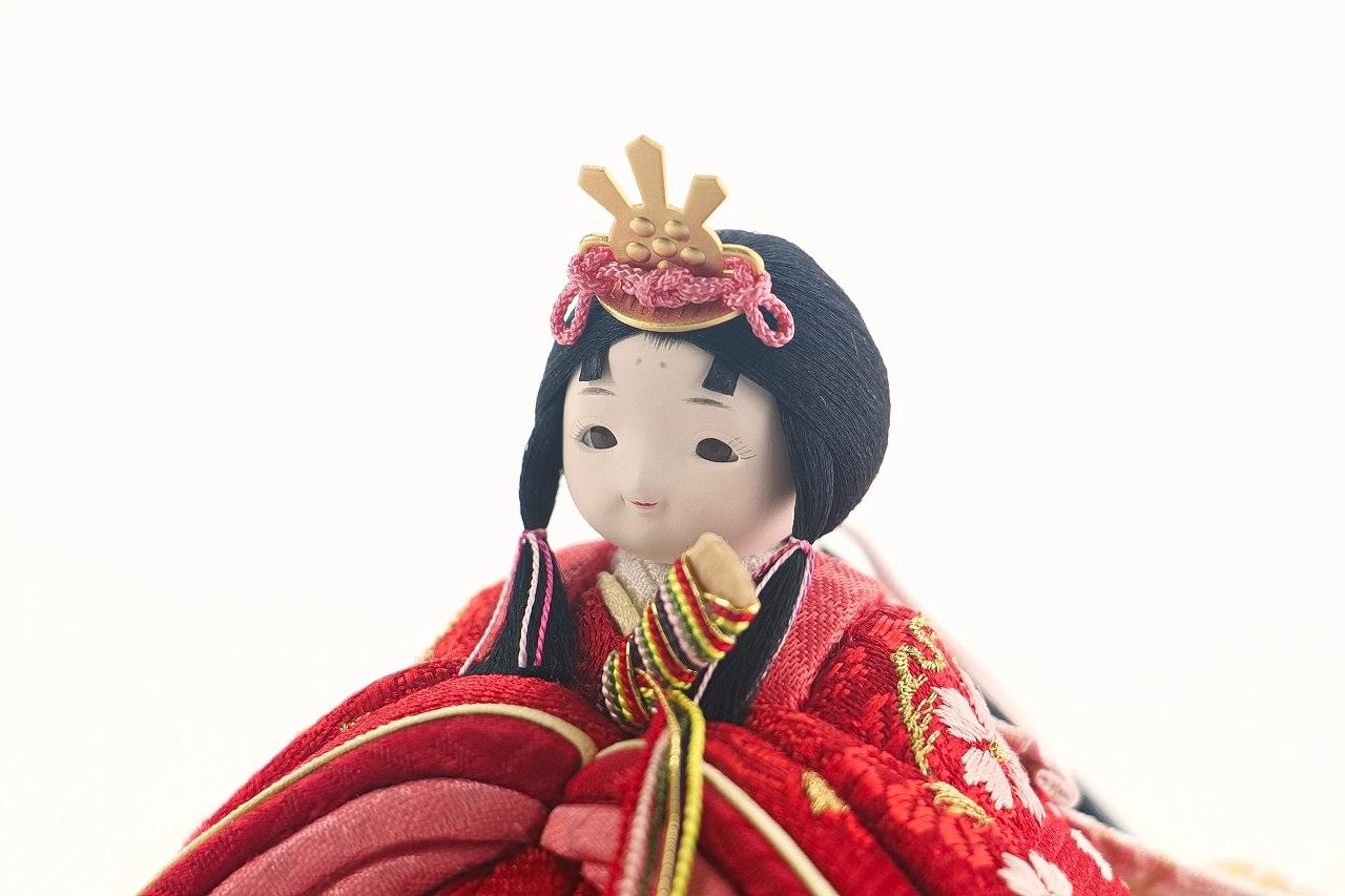 かわいい 小さな お雛様 rico美桜(みお)木目込み親王飾り高岡塗台黒 蒔絵屏風