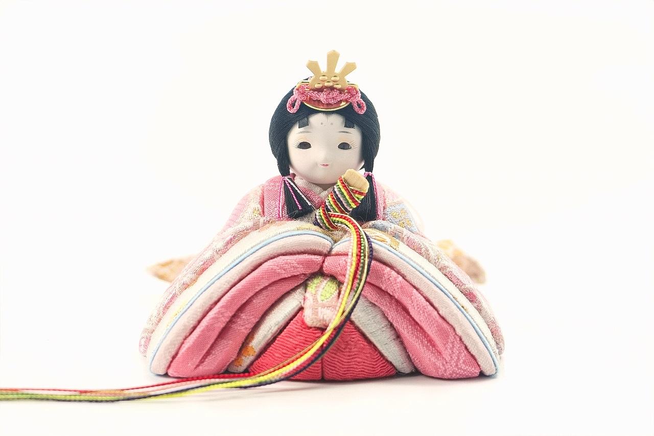 かわいい 小さな お雛様 rico桃音(もね)木目込み五人飾り 木台 鞠刺繍屏風