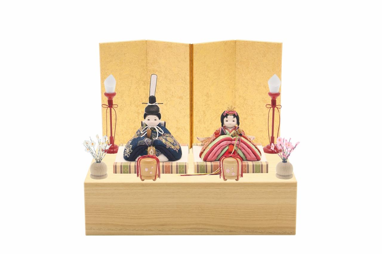 かわいい 小さな お雛様 rico結月(ゆづき)木目込み親王飾り minimal木台ソリッド 金屏風