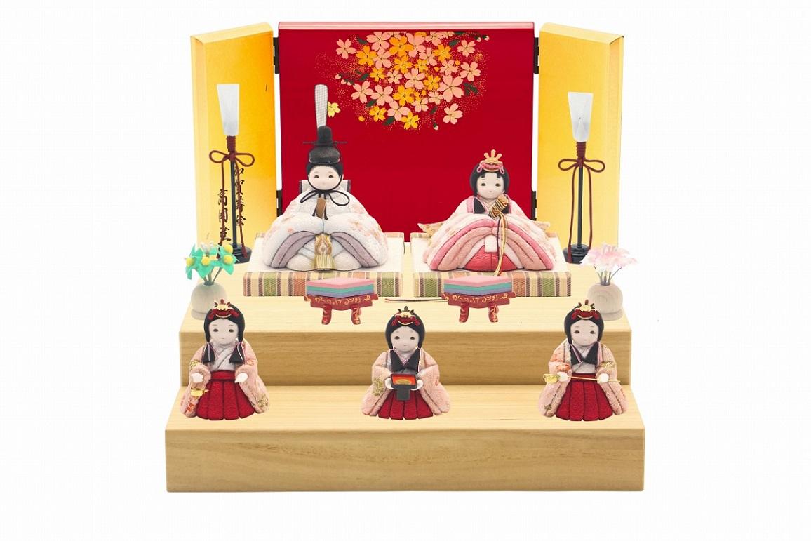 かわいい 小さな お雛様 rico沙羅(さら)木目込み五人飾り minimal木台ソリッド 蒔絵屏風
