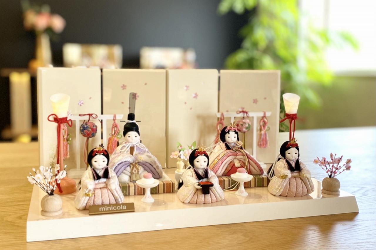 インスタグラム掲載 rico梨花(りんか)木目込み五人飾り雛人形 高岡塗台
