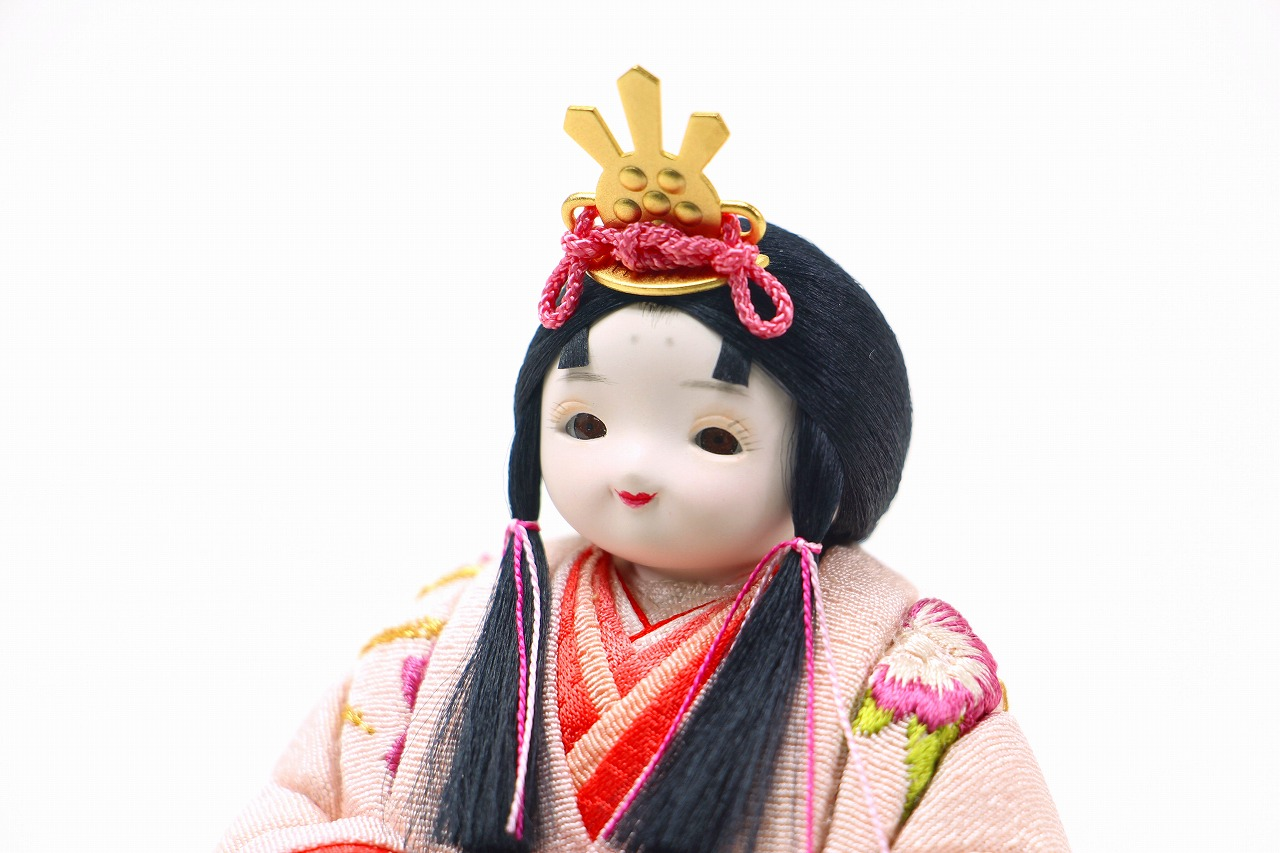 かわいい 小さな お雛様 rico琴(こと)木目込み親王飾り高岡塗台 金に桜屏風