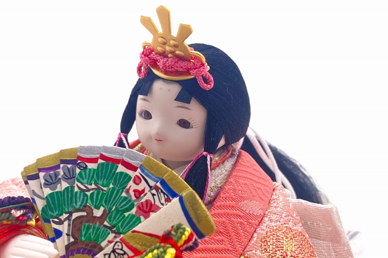 かわいい 小さな お雛様 coco円(まどか)衣装着親王飾りcolocoloロング アッシュピーチ
