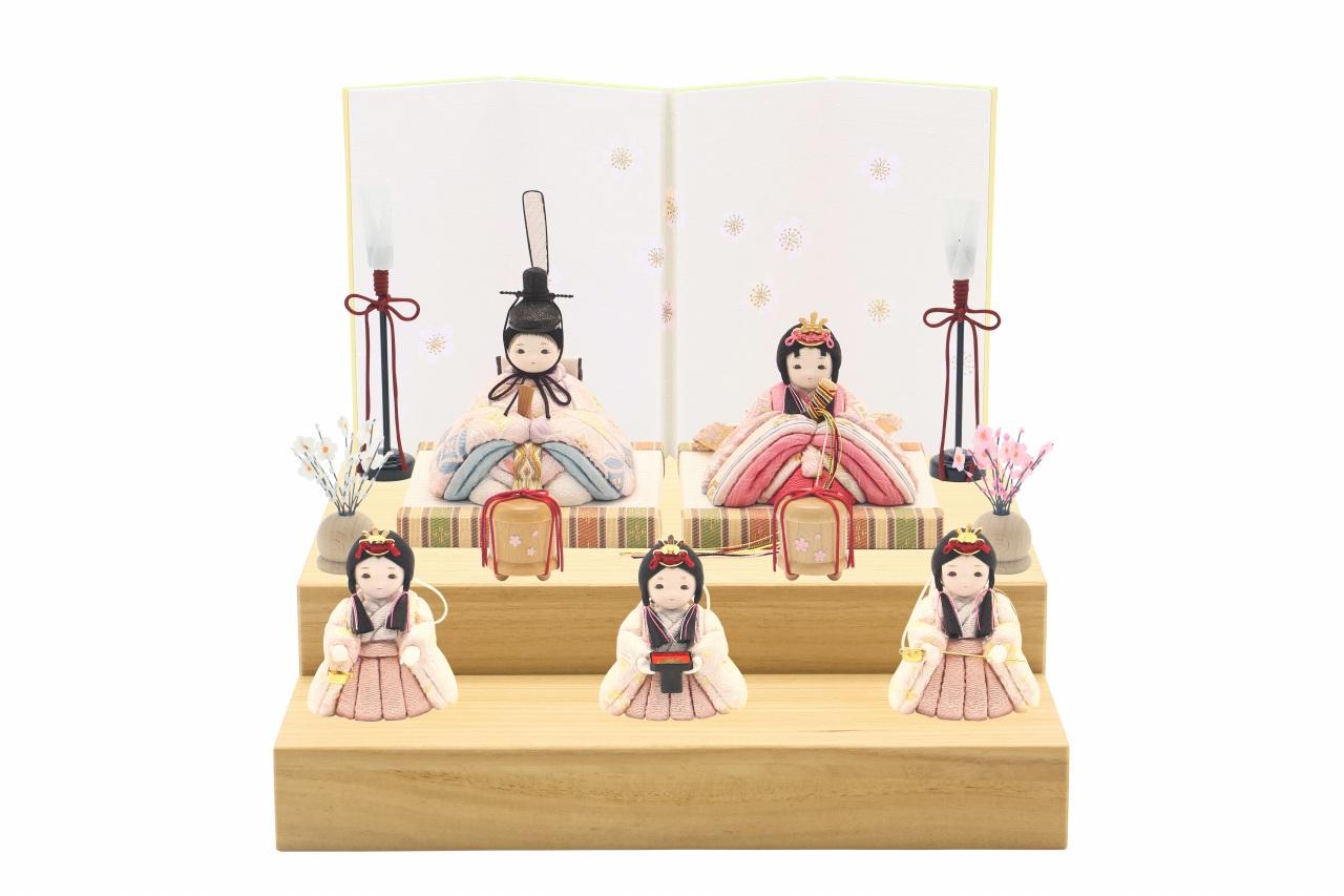 かわいい 小さな お雛様 rico桃音(もね)木目込み五人飾り minimal木台ソリッド 白布地に小桜屏風