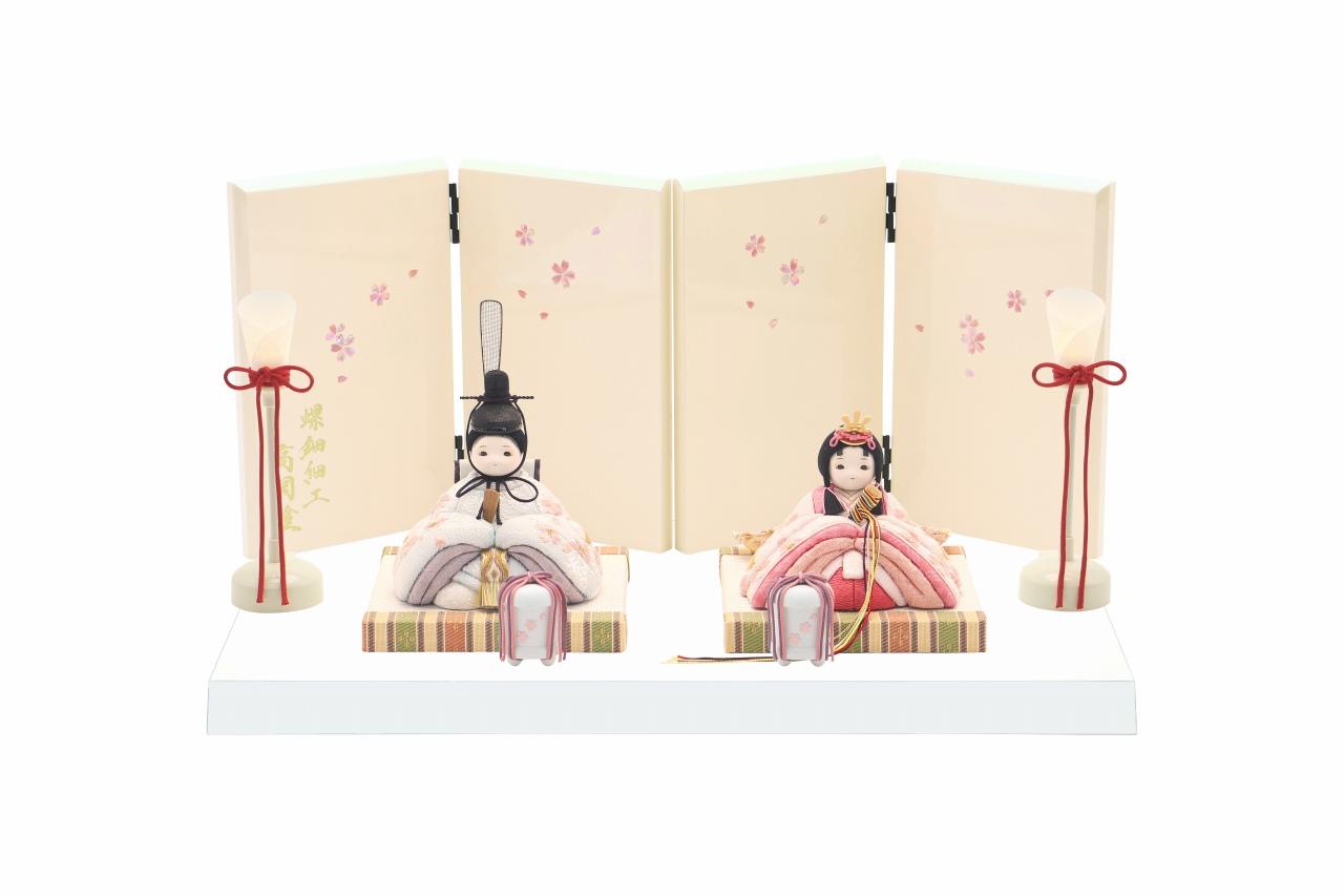 インスタグラム掲載 rico沙羅(さら)木目込み親王飾り雛人形 高岡塗台 らでん屏風