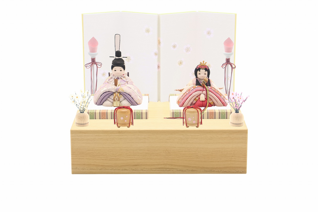 rico梨花(りんか)木目込み親王飾り雛人形 minimal木台ソリッド 白地桜屏風